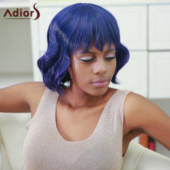 Adiors Fluffy Short Full Bang Wavy Color Mixed Synthetic Wig
