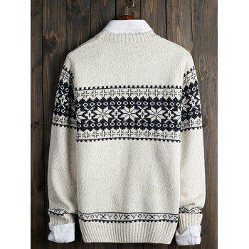 Crew Neck Christmas Snowflake Graphic Sweater - OFF WHITE 2XL