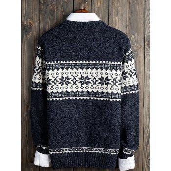 Crew Neck Christmas Snowflake Graphic Sweater - DEEP BLUE M