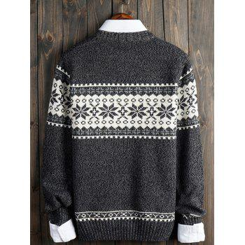Crew Neck Christmas Snowflake Graphic Sweater - GRAY XL