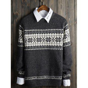 Crew Neck Christmas Snowflake Graphic Sweater