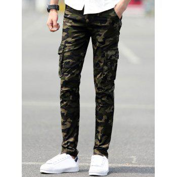 Slim Fit Pockets Camo Cargo Pants