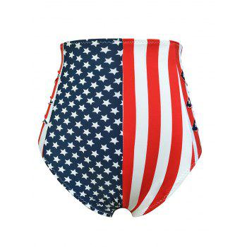 Flag Distressed Vintage Cheeky High Waisted Bikini Shorts - BLUE/RED BLUE/RED