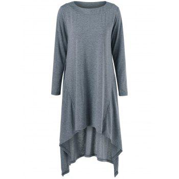 High Low Hem Long Sleeve Casual Dress