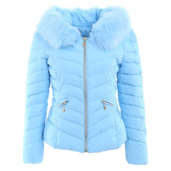 Chervon Faux Fur Hooded Quilted Jacket