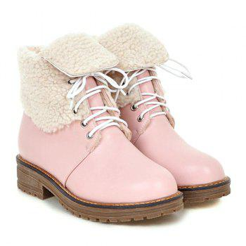 Fold Over Faux Shearling Lined Ankle Boots - PINK PINK
