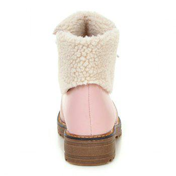 Fold Over Faux Shearling Lined Ankle Boots - 38 38