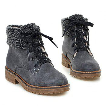 Lace Up Faux Shearling Ankle Boots - 39 39