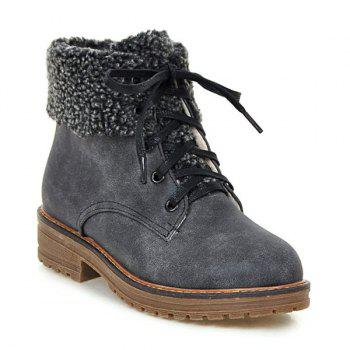 Lace Up Faux Shearling Ankle Boots - GRAY 38