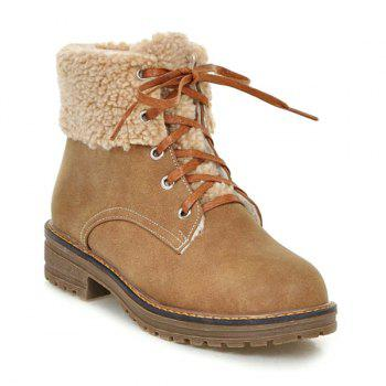 Lace Up Faux Shearling Ankle Boots - LIGHT BROWN 39