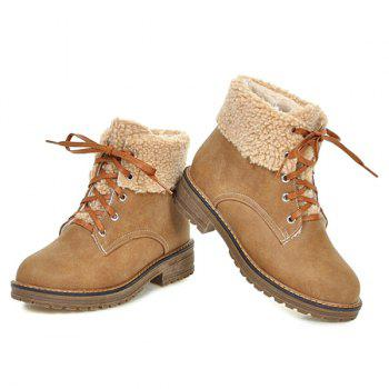 Lace Up Faux Shearling Ankle Boots - 38 38