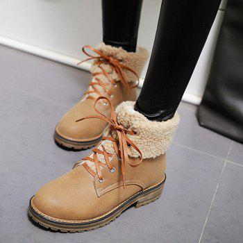 Lace Up Faux Shearling Ankle Boots - LIGHT BROWN LIGHT BROWN