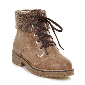 Lace Up Faux Shearling Ankle Boots - CAMEL 39