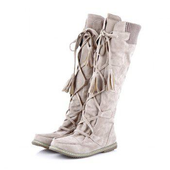 Tassels Knitted Top Mid Calf Boots