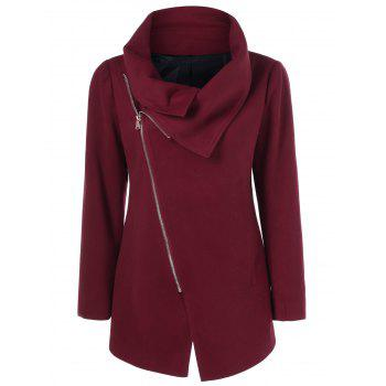 Asymmetrical Collared Zippered Coat
