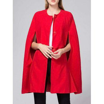 Round Collar Button Capelet Coat