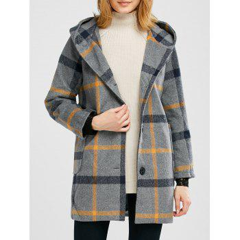 Plaid Pompon Hooded Wool Blend Coat
