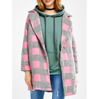 Lapel Plaid Wool Blend Coat