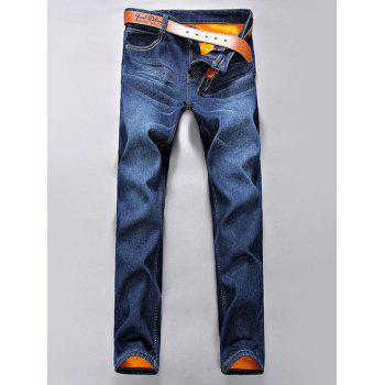 Zipper Fly Flocking Narrow Feet Jeans