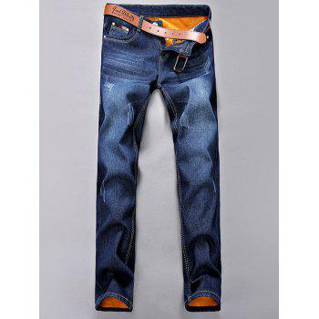 Flocking Plus Size Cat Whisker Narrow Feet Jeans