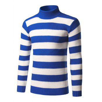 Broad Stripe Roll Neck Long Sleeve Sweater