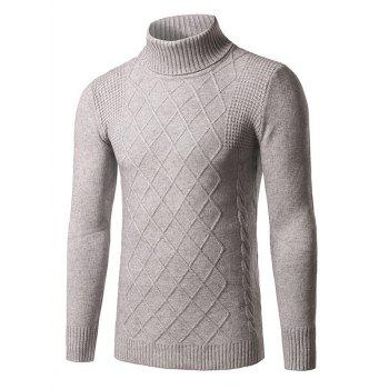 Rhombus Kink Design Roll Neck Long Sleeve Sweater