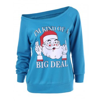 Skew Neck Pullover Sweatshirt With Santa Claus