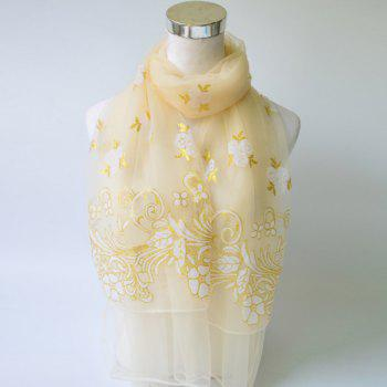 Floral Pattern Glitter Powder Embellished Lace Scarf