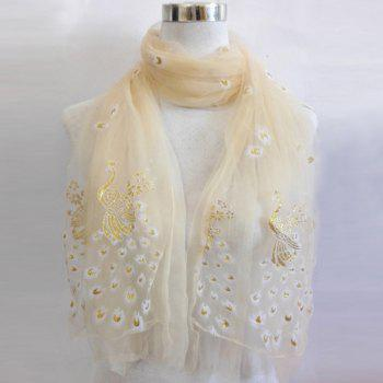 Peacock Shape Flocking Glitter Powder Lace Scarf