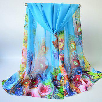 Peacock Feather and Floral Print Chiffon Scarf