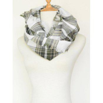 Plaid Pattern Fringed Warm Cowl Scarf