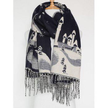 Christmas Snow Covered Landscape Tassel Warm Scarf