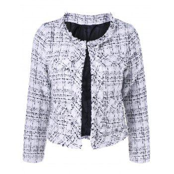 Cropped Collarless Boucle Jacket
