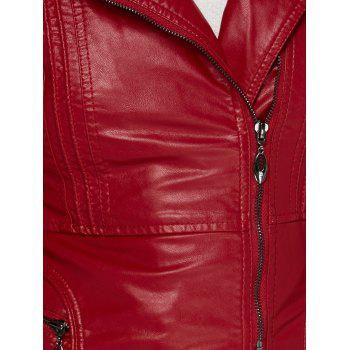 Asymmetrical Belted Faux Leather Jacket - WINE RED 3XL