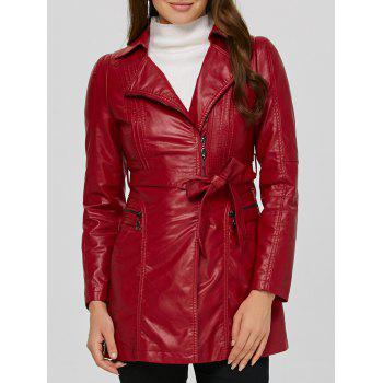 Asymmetrical Belted Faux Leather Jacket