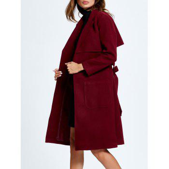 Side Slit Lapel Collar Patched Coat