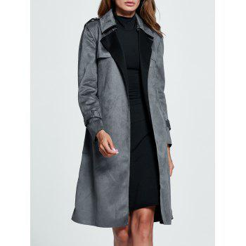 Belted Sueded Draped Trench Coat