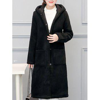 Faux Shearling Hooded Long Coat with Pocket