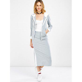Hooded Jacket and Contrast Slit Skirt Twinset - 2XL 2XL