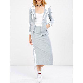 Hooded Jacket and Contrast Slit Skirt Twinset - LIGHT GREY 2XL