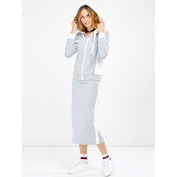 Hooded Jacket and Contrast Slit Skirt Twinset - LIGHT GREY L