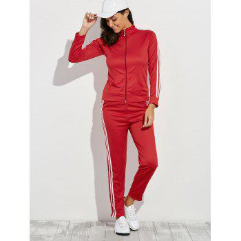 Zip Up Striped Running Jacket with Jogging Pants - M M