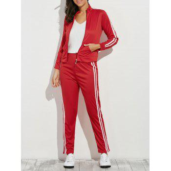 Zip Up Striped Running Jacket with Jogging Pants - RED M