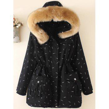 Plus Size Faux Fur Hooded Printed Parka