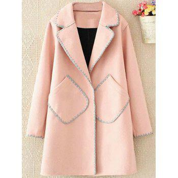 Plus Size Longline Embroidered Wool Blend Coat