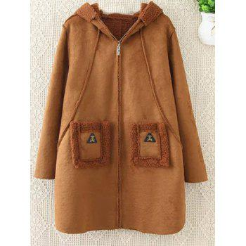 Plus Size Faux Suede Hooded Coat