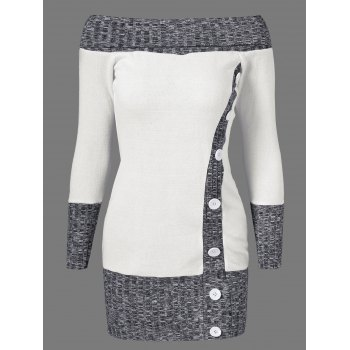 Knitted Off The Shoulder Fitted Jumper Dress - GREY AND WHITE M
