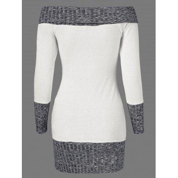 Knitted Off The Shoulder Fitted Jumper Dress - GREY/WHITE L