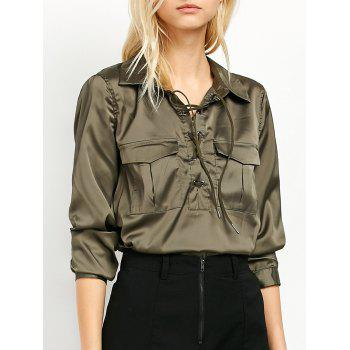 Flap Pockets Lace Up Front Shirt