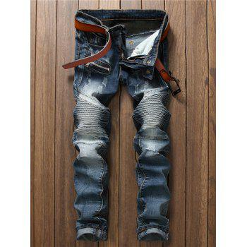Scratched Pocket Rib Panel Zippered Jeans
